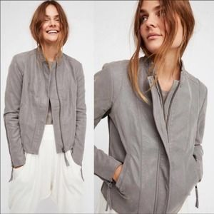 FREE PEOPLE Gray Faux Leather Moto Jacket